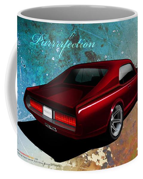 1967 Custom Cougar Coffee Mug featuring the digital art Purrrrfection by Doug Schramm