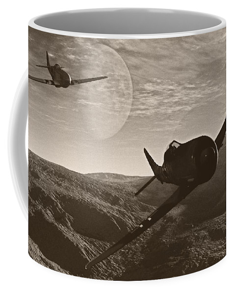 Dogfight Coffee Mug featuring the digital art Pursuit Of The Fox by Richard Rizzo