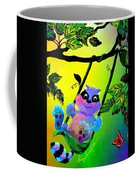Raccoon Coffee Mug featuring the painting Push Me Please by Hanne Lore Koehler