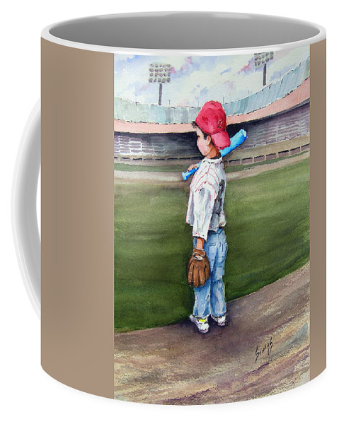 Baseball Coffee Mug featuring the painting Put Me In Coach by Sam Sidders
