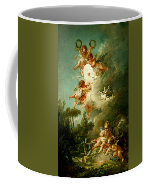 Francois Boucher Coffee Mug featuring the painting Putti Shooting At A Target by Francois Boucher