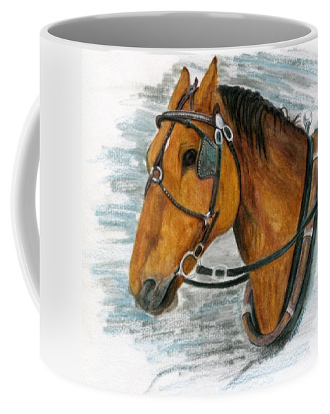 Horse Coffee Mug featuring the painting Putting In His Time by Mary Tuomi