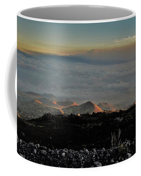 Hawaii Coffee Mug featuring the photograph Pu'us Aglow In Late Afternoon Light by Heidi Fickinger