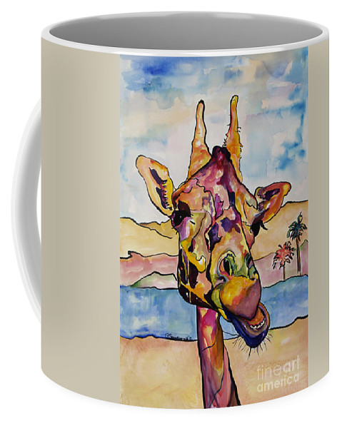 Giraffe Coffee Mug featuring the painting Puzzles by Pat Saunders-White