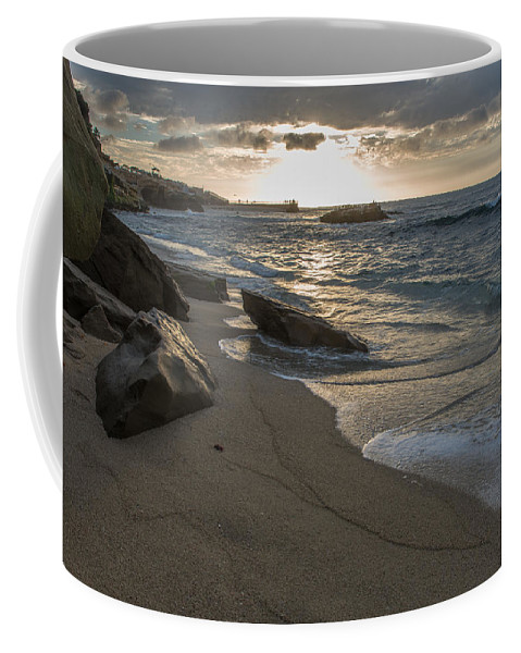 Sunset On Children's Park In La Jolla Cove Coffee Mug featuring the photograph Pyramid Sunset by Scott Hafer