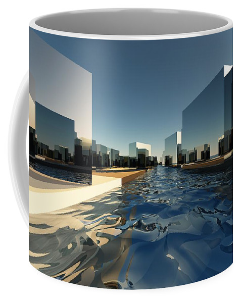 Abstractly Coffee Mug featuring the digital art Q-city Two by Max Steinwald