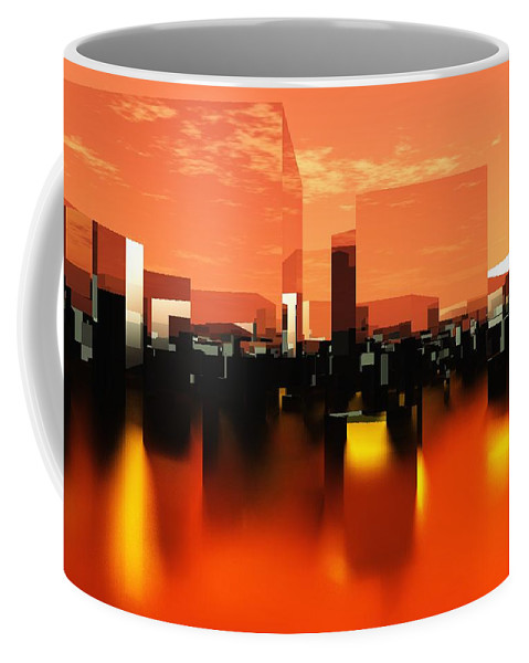 Cube Coffee Mug featuring the digital art Q-city Zero by Max Steinwald