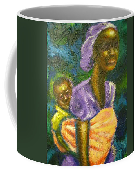 Mother And Child Coffee Mug featuring the painting Safe And Secure by Jan Gilmore