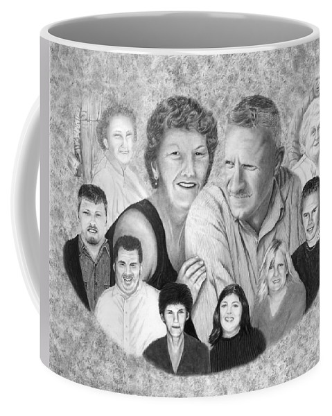 Family Portrait Coffee Mug featuring the drawing Quade Family Portrait by Peter Piatt