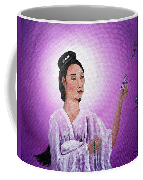 Quan Yin Coffee Mug featuring the painting Quan Yin With Three Dragonflies by Laura Iverson