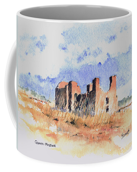 New Mexico Coffee Mug featuring the painting Quarari Mission by Sam Sidders