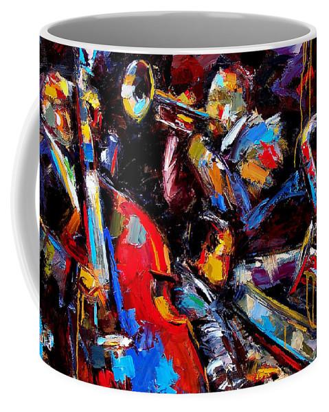 Jazz Paintings Coffee Mug featuring the painting Quartet by Debra Hurd