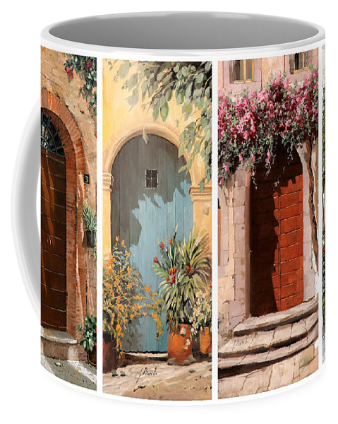 Doors Coffee Mug featuring the painting Quattro Porte by Guido Borelli