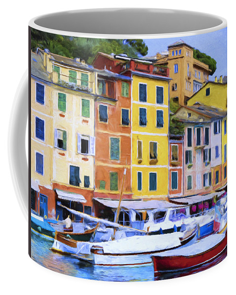 Italy Coffee Mug featuring the painting Quayside At Portofino by Dominic Piperata