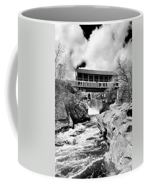 Covered Bridge Coffee Mug featuring the photograph Quechee by Greg Fortier