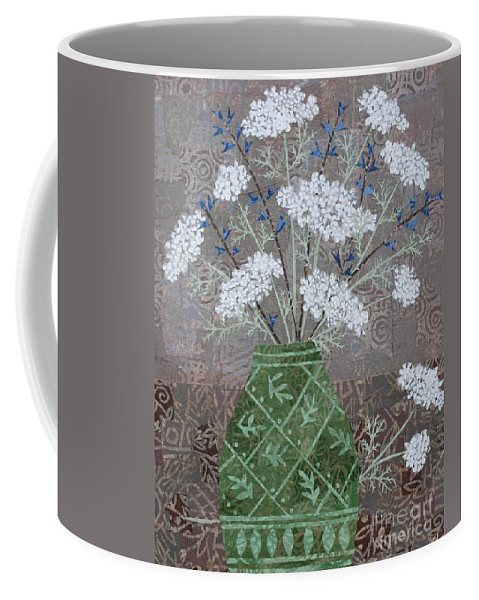 Queen Anne's Lace Coffee Mug featuring the mixed media Queen Anne's Lace In Green Vase by Janyce Boynton