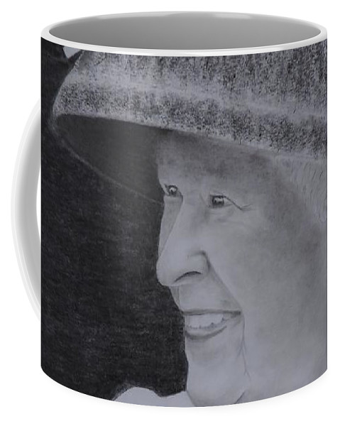 The Queen On Her Visit To Canada 2010 Coffee Mug featuring the drawing Queen Elizabeth II by Lise PICHE