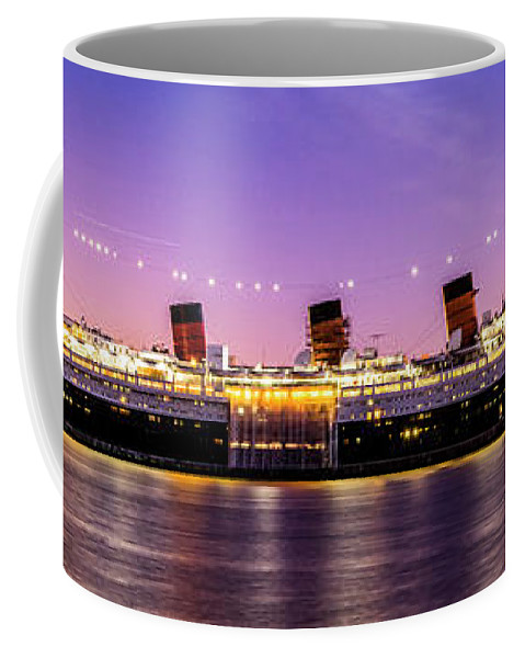 Long Beach Coffee Mug featuring the photograph Queen Mary At Dusk_pano by Enrique Guizar