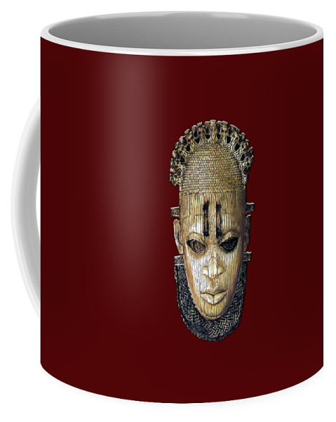 'treasures Of Africa' Collection By Serge Averbukh Coffee Mug featuring the digital art Queen Mother Idia - Ivory Hip Pendant Mask - Nigeria - Edo Peoples - Court Of Benin On Red Velvet by Serge Averbukh