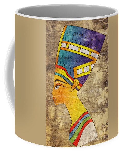 Portrait Coffee Mug featuring the mixed media Queen Of Ancient Egypt by Michal Boubin