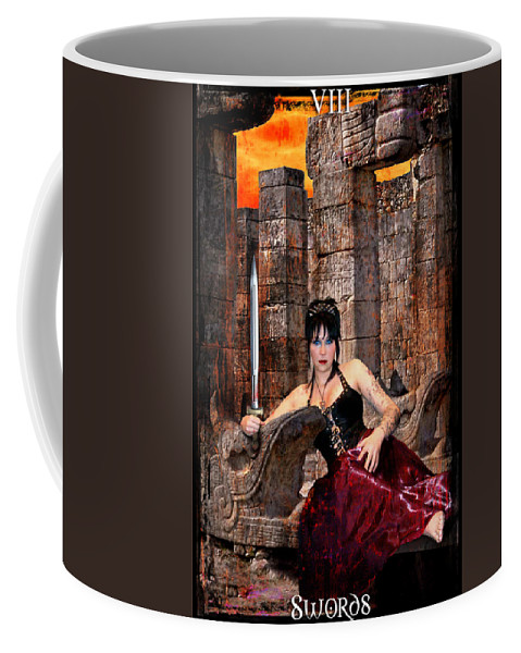Divine Coffee Mug featuring the digital art queen of Swords by Tammy Wetzel