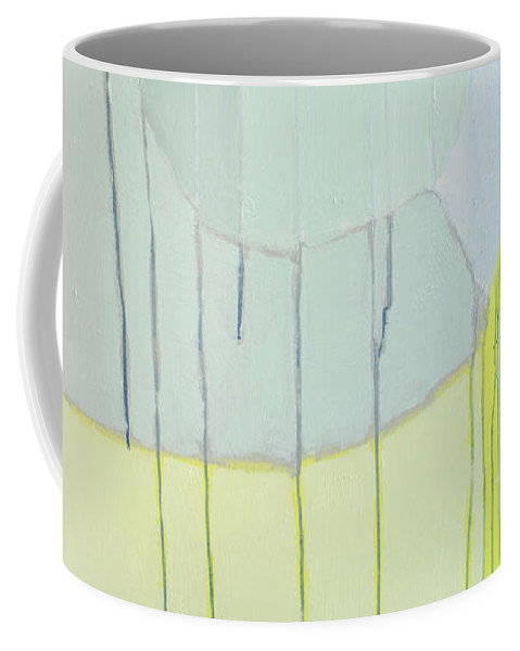 Abstract Coffee Mug featuring the painting Quien Esta? by Claire Desjardins