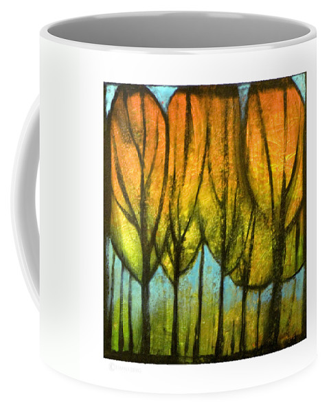 Trees Coffee Mug featuring the painting Quiet Blaze by Tim Nyberg