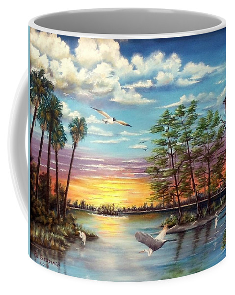 Art Coffee Mug featuring the painting Quiet Gathering by Riley Geddings