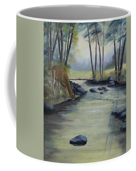 Landscape Coffee Mug featuring the painting Quiet Moments by Johanna Lerwick