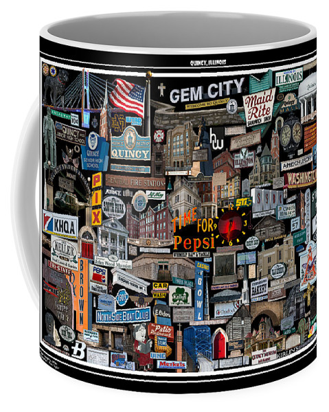 Quincy Coffee Mug featuring the photograph Quincy, Il Collage by Toni Taylor