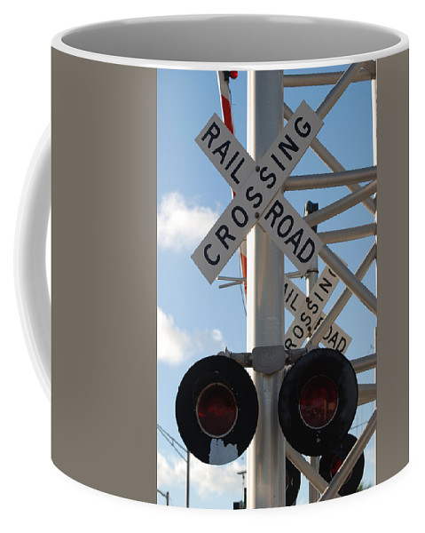Train Coffee Mug featuring the photograph R X R Crossing by Rob Hans