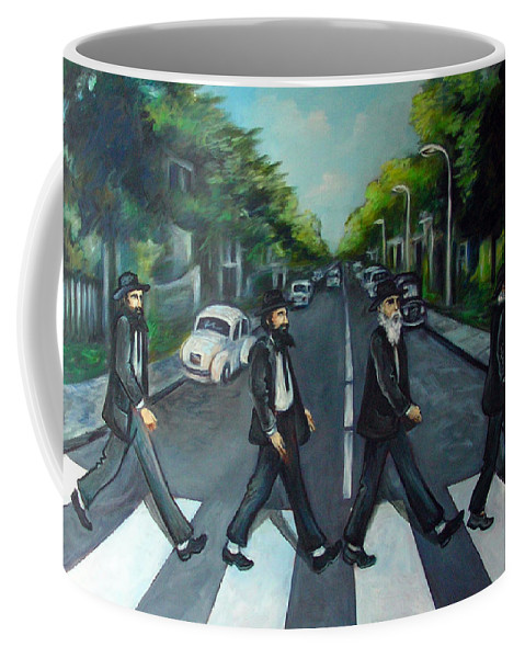 Surreal Coffee Mug featuring the painting Rabbi Road by Valerie Vescovi