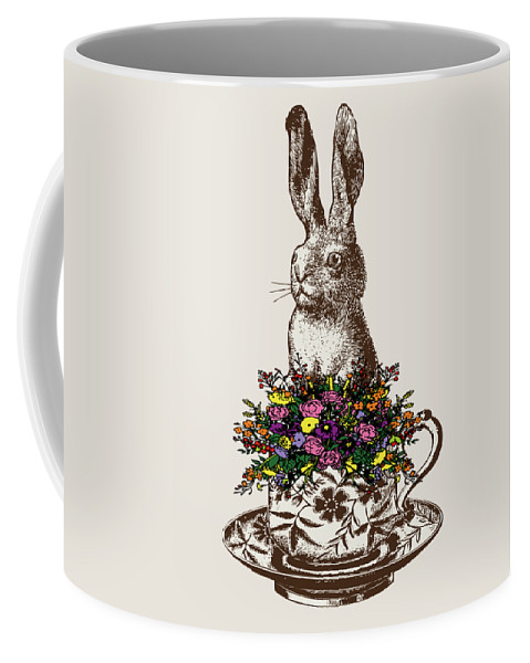 Rabbits Coffee Mug featuring the digital art Rabbit In A Teacup by Eclectic at HeART