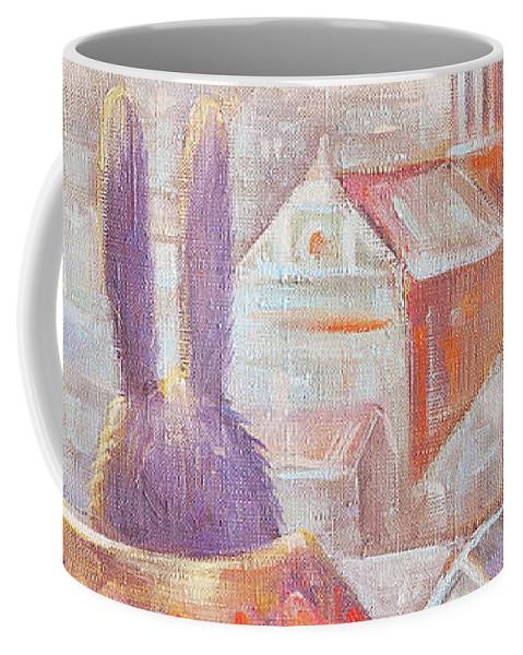 Rabbit Coffee Mug featuring the painting Rabbits In Rome by Olga Yatsenko