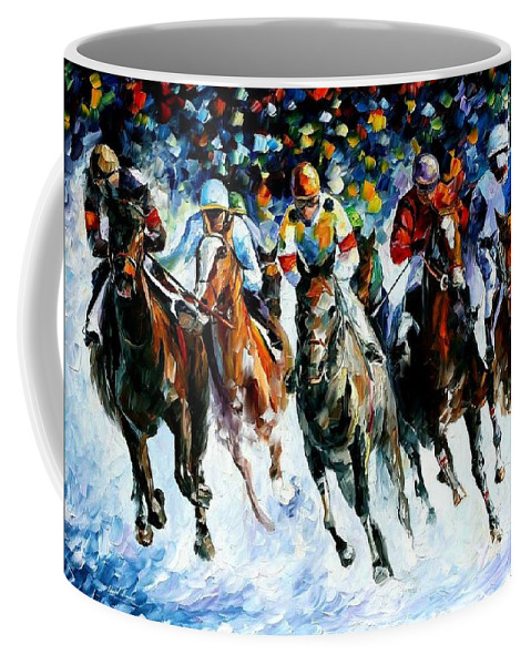 Race Coffee Mug featuring the painting Race On The Snow by Leonid Afremov