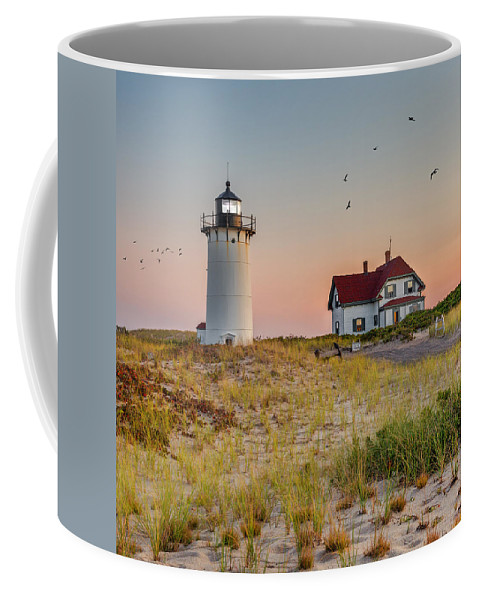Square Coffee Mug featuring the photograph Race Point Light Cape Cod Square by Bill Wakeley