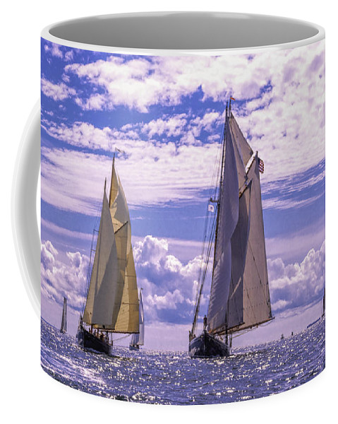 Amistad Coffee Mug featuring the photograph Racing On Open Waters by Joe Geraci