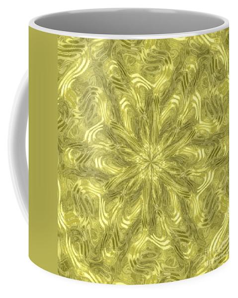 Alien Coffee Mug featuring the digital art Radial Alien Fluid Metal by Miroslav Nemecek