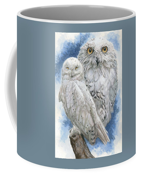 Snowy Owl Coffee Mug featuring the mixed media Radiant by Barbara Keith