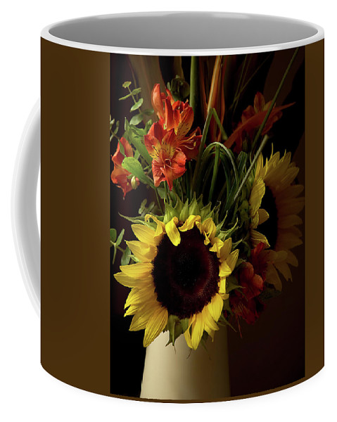 Sunflower Coffee Mug featuring the photograph Radiant Sunflowers And Peruvian Lilies by Marie Hicks
