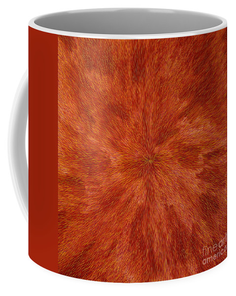 Abstract Coffee Mug featuring the painting Radiation With Brown Yellow And Voilet by Dean Triolo