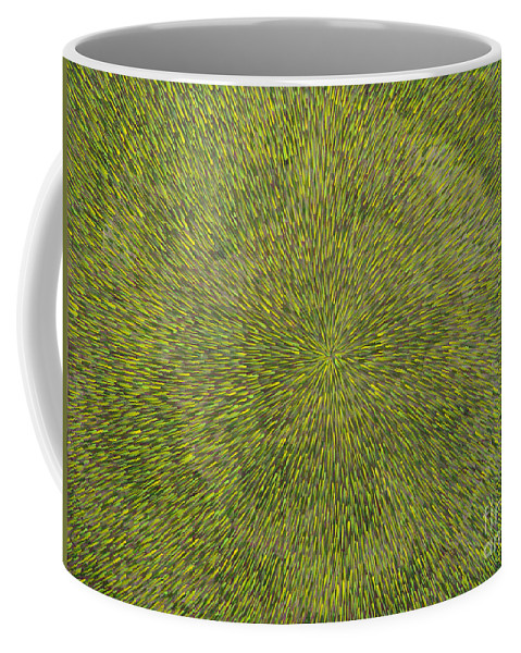 Abstract Coffee Mug featuring the painting Radiation with Green with Yellow by Dean Triolo