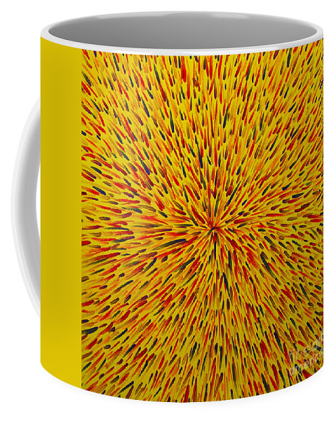 Abstract Coffee Mug featuring the painting Radiation Yellow by Dean Triolo