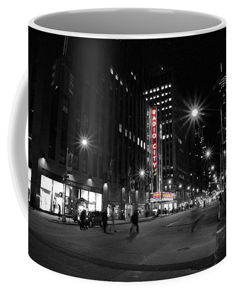 Black And White Coffee Mug featuring the photograph Radio City Colors by Kurt Von Dietsch