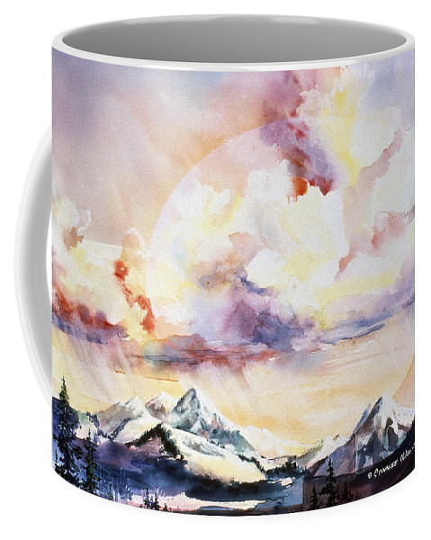 Ragged Mountains Coffee Mug featuring the painting Ragged Mountains Sunset by Connie Williams