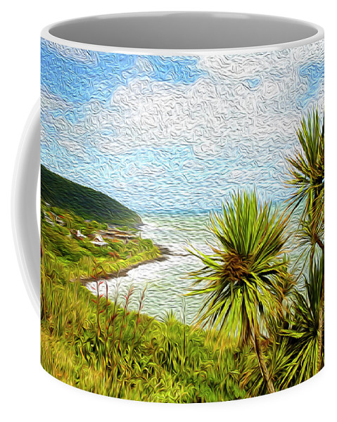 Raglan Coffee Mug featuring the digital art Raglan Coastline by Les Cunliffe