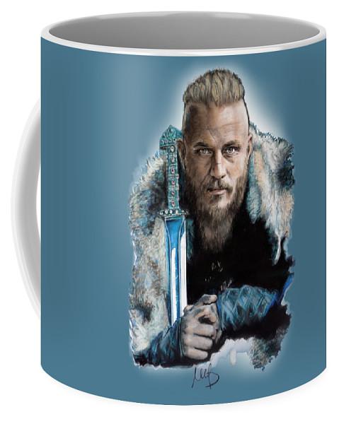Ragnar Lothbrok Coffee Mug featuring the mixed media Ragnar Lothbrok by Melanie D