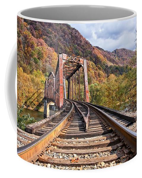 Railroad Coffee Mug featuring the photograph Rail Bridge by Marcia Colelli