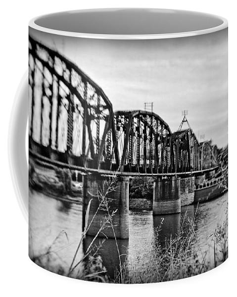 Black & White Coffee Mug featuring the photograph Railroad Bridge -bw by Scott Pellegrin