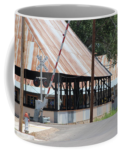 New Mexico Coffee Mug featuring the photograph Railroad Crossing and Industry by Colleen Cornelius